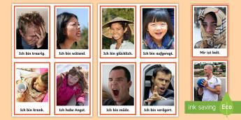 Feelings and Emotions Flashcards - German - Emotions, Feelings, German, MFL, Languages