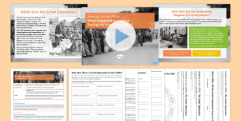 What Happened to Americans during the Great Depression? Lesson Pack - gcse, history, ks4, uSA, Roosevelt, Hoover, Hoovervilles, Wall St Crash, Alphabet Agencies, Supreme