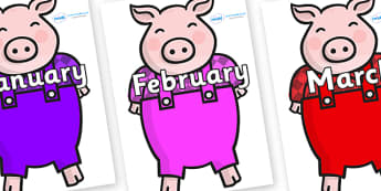 Months of the Year on Pigs - Months of the Year, Months poster, Months display, display, poster, frieze, Months, month, January, February, March, April, May, June, July, August, September