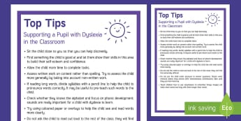 Classroom Tips for Supporting Pupils with Dyslexia Adult Guidance - SEN, dyslexia, top tins, supporting pupils with dyslexia, classroom management