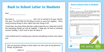 Back to school Teacher to student Letter - September,Autumn term, get to know you, introduction, pupil, student, teacher,Irish