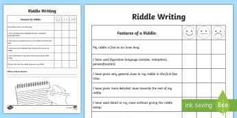 Writing a Riddle Self-Assessment Tracker - key features, writing, assessment, peer, clues