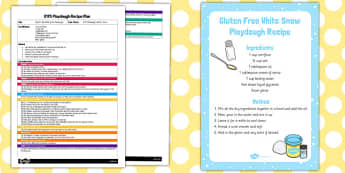 EYFS Gluten Free White Snow Playdough Plan and Recipe Pack - playdough