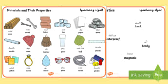 Materials And Their Properties Word Mats Arabic/English - Materials And Their Properties Word Mats - materials, properties, materilas, wordmat EAL Arabic