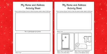 Aistear Christmas and The Post Office My Home and Address Activity Sheet - roi, irish, gaeilge, Home, Address, Drawing, Aistear, The Post Office, worksheet