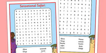 Sensational Safari Kenya Word Search - sensational safari, kenya, word search, wordsearch, africa