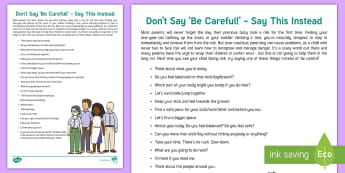 Things to Say Instead of 'Be Careful!' Parent and Carer Information Sheet - risk, danger, parenting, family, children, active