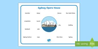 Sydney Opera House Word Mat - Australian Landmark, Australian Geography, Australia, Australian History, landmarks, Important place