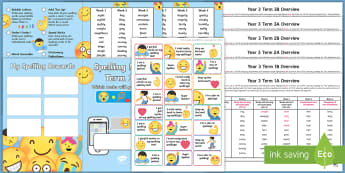 Year 3 Emoji Themed Spelling Menu Pack - spag, gps, home learning, weekly, lists, test, spelling patterns, spelling rules