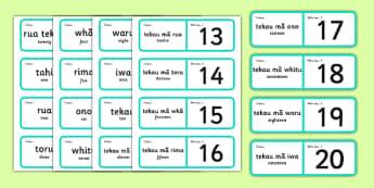 Numbers 1-20 Loop Cards Te Reo Māori Translation - te reo māori, new zealand, nz, loop cards