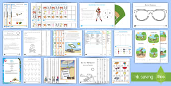 Summer Learning K-2 Activity Resource Pack - vacation, camp, math, reading, holiday, break, sun, home