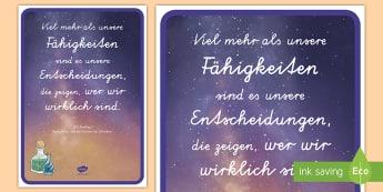 Entscheidungen Motivierendes Poster für die Klassenraumgestaltung - Motivation, Inspiration, Lesen, Harry Potter, Bücher, Buch,,German