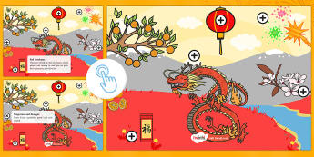 Chinese New Year Picture Hotspots - Chinese New Year KS1, EYFS, Celebration, festivals, rooster, fireworks, lanterns, red envelopes, Twinkl Go, twinkl go, TwinklGo, twinklgo