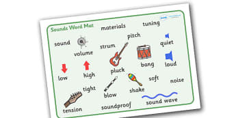 Sounds Word Mat - sounds, word mat, mat, writing aid, words, listening, low, high, sound, sounds, display, poster, instruments