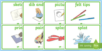 Creative Area Word Display Posters - Creative area, colour area, display, poster, drip, splat, squeeze, draw, paint, sketch, trace