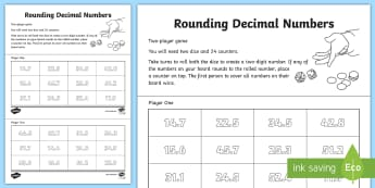 Rounding Decimal Numbers Activity - nearest whole number, round, estimate, tenths, year 4, y4, maths game, ks2