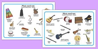 Music Word Mat Polish Translation - polish, music, word mat, word, mat, sounds