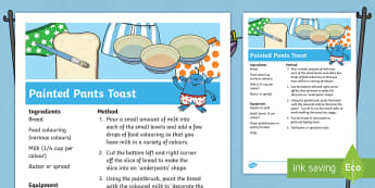 Painted Pants Toast Recipe - Aliens Love Underpants, Claire Freedman, space, alien, pants, underwear, snack, cooking, bread, toas