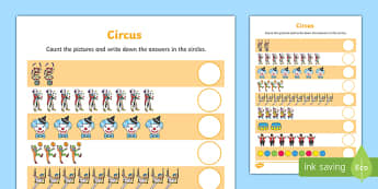 Circus Themed Counting Worksheet / Activity Sheet - circus, counting, count, activity, numbers