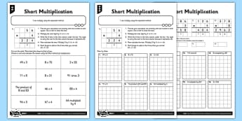 Year 3 Differentiated Short Multiplication Activity Sheet Pack - short multiplication, column multiplication, written multiplication, formal written method, calculation methods, differentiated activity, worksheet