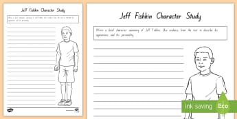 Term 1 Week 2 Year 5 and 6 Character Study of Jeff Fishkin Activity Sheet to Support Teaching On There's a Boy in the Girls' Bathroom by Louis Sachar - Louis Sachar, Chapter Chat, Year 5-6, There's A Boy In The Girls' Bathroom, worksheet,  Reading, C