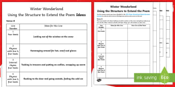 KS2 Winter Wonderland Extending the Poem Activity Sheet - Christmas, Poem, Poetry, Alliteration, Personification, Metaphor, Simile, Holidays, Winter, snow, wr