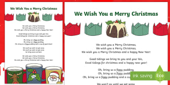 We Wish You a Merry Christmas Song Lyrics - Christmas Song, Carol, Santa, Celebrations, Repeating Song