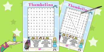Thumbelina Wordsearch - stories, story books, word search, words