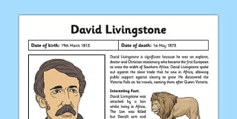 Scottish Significant Individuals David Livingstone Fact Sheet - Scottish significant individual, explorer, Christian missionary, Africa, Victoria Falls, Zambezi, slave trade, anti-slave