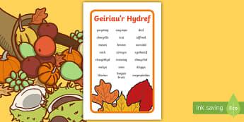 Ffrâm Poster Prydlon Geiriau Allweddol Yr Hydref  IKEA Tolsby  - Autumn, Hydref, geirfa, allweddol, ysgrifennu, dail, lliwiau,Welsh