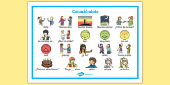 Conociéndote Word Mat Spanish - spanish, getting to know you, word mat, know, you, word, mat