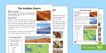 The Arabian Desert Fact File - Science: Living World, fact, file, Arabian, desert, UAE, science.