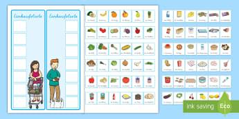 Eine Einkaufsliste erstellen Aktivität - Einkaufen, Supermarkt, Laden, Liste, Einkaufszettel, Einkaufswagen, German