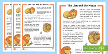 The Lion and the Mouse Story - Aesop's fable,  moral, fable, KS1, key stage 1, key stage 1, year 1, year one, y1, year two, year 2