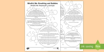* NEW * Mindful Me: Breathing and Bubbles Activity - English / Spanish  - EAL, Mindfulness, coping strategies, positive thinking, calming down, Spanish-translation