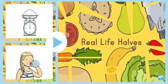 US Real Life Halves PowerPoint - fractions, half, partitioning shapes, halves, geometry