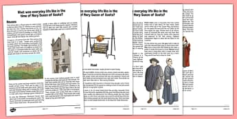 Scottish History Everyday Life Information Cards Mary Queen of Scots - Stuarts, Tudors, Mary Queen of Scots, Scotland, Scottish, history, society, food, houses and homes, work, comparison, rich and poor, then and now