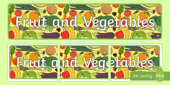 Fruit and Vegetables Banner - - fruit, vegetables, banner, display, healthy eating, 5 a day, role play shop,