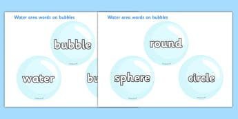 Water Area Words on Bubbles - Water area, bubble, bubbles, drop, droplet, water play, water, water display, splash, drop, drip, wet, float, sink