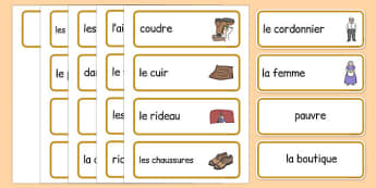 Cartes de vocabulaire pour