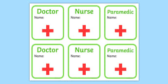 Hospital ID Badges - Hospital Role Play, hospital resources, people who help us, nurser, doctor, hospital, ward, bandages, role play, display, poster