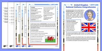 United Kingdom National Anthems Differentiated Reading Comprehension Activity