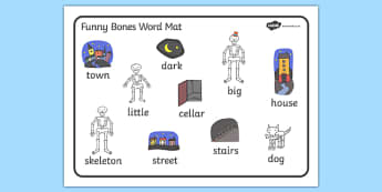 Word Mat (Images) to Support Teaching on Funnybones - Funny Bones, Janet and Alan Ahlberg, story, story book, story book resources, story sequencing, story resources, skeleton, our body, all about me, word mat, writing aid