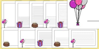 Birthday Page Borders - Birthdays, page border, a4 border, template, writing aid, writing border, page template, cake, balloons, happy birthday, birthday role play