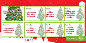 Name Five Christmas Challenge Cards - Party Games, Christmas games, Talking, Listening, Social Games