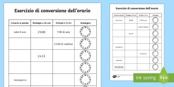 Esercizio di Conversione dell'Orario - orario, conversione, am, pm, pomeriggio, mattina, ora, legale, solare, leggere, italiano, italian, o