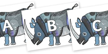 A-Z Alphabet on Rhinoceros to Support Teaching on The Bad Tempered Ladybird - A-Z, A4, display, Alphabet frieze, Display letters, Letter posters, A-Z letters, Alphabet flashcards