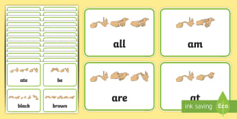Primer Dolch List Sight Words with Fingerspelling Flashcards - high frequency words, British sign language, manual alphabet, developing reading, widening vocabular