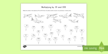 Multiplying by 10 and 100 Activity Sheet - math, multiply 10, 100, activity sheet, worksheet