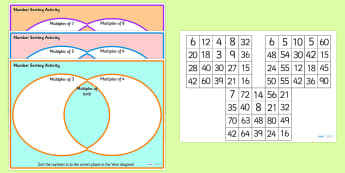 Venn Diagram Number Multiples Sorting Activity - venn diagram, venn diagram sorting activity, number multiples, number multiples sorting activity, ks2